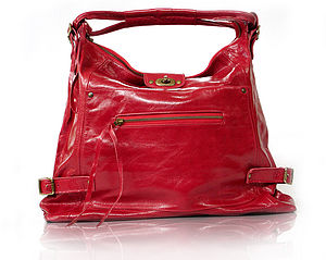 Big Cherry Red Hobo Leather Handbag