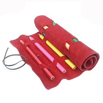 Red Suede Pencil Roll