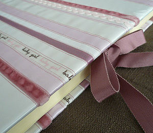 Baby Girl Ribbon Striped Photo Album - keepsakes