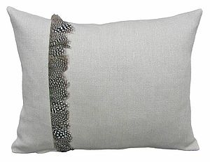 Linen and Guinea Fowl Feather Cushion - cushions