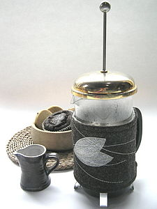 Coffee cosy Leaf on tweed design - tea & coffee cosies