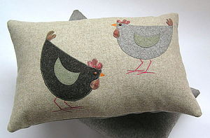 Cluck and pecker cushion - bedroom
