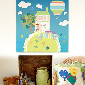Bespoke Canvas - Charlie's House - children's pictures & paintings