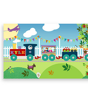 Bespoke Canvas - Kyle's Train - children's pictures & paintings