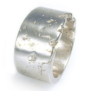 Wide Silver Concrete Ring - jewellery for men