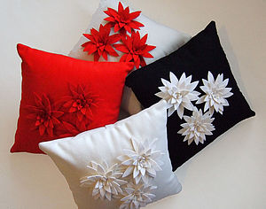 Felt Flower Lily Cushion - living room