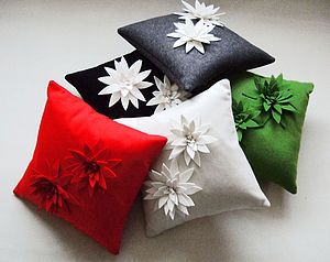 Lily Felt Flower Cushion - living room
