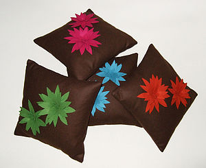 Brown Lily Cushions - decorative accessories