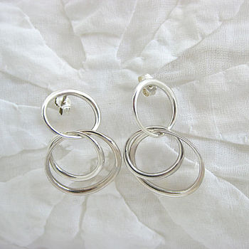 Entwined silver hoops