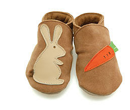 Soft Leather Baby Shoes Rabbit & Carrot - babies' slippers & indoor boots