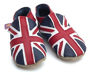 Soft Leather Baby Shoes Union Jack - babies' slippers
