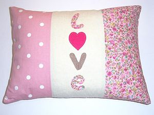 Handmade Applique 'Love' Cushion