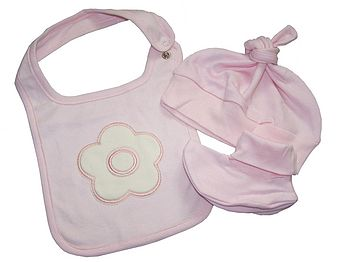 Bib, hat, booties set in pink