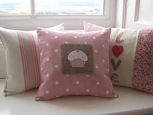 Handmade Applique Cupcake Cushion