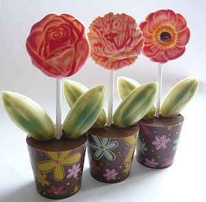 Two Chocolate Flower Pots - birthday gifts
