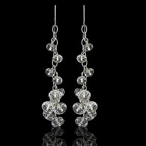 Long Clear Crystal Drop Earrings - Silver - earrings