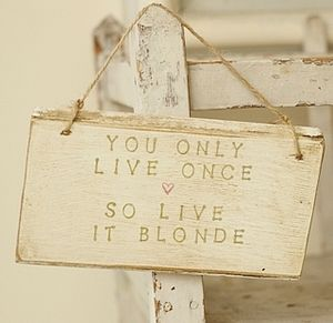 Live Blonde  Handmade Sign - decorative accessories