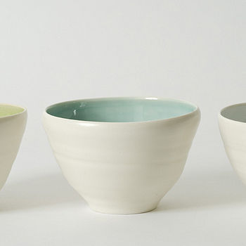 Small bowls, green, turq, blue