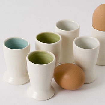 Egg cups, turq, green, blue