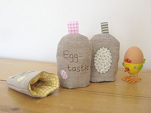 Handmade Linen Applique Egg Cosie - tableware