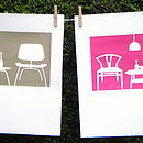pink/brown line chairs