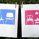pink /blue line chairs