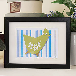 Chicken On Stripes Print - posters & prints
