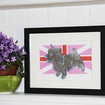 Metal Leaf Terrier On Flag Print