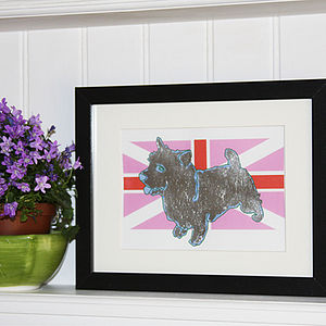Metal Leaf Terrier On Flag Print
