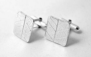Silver Leaf Cufflinks - men's accessories