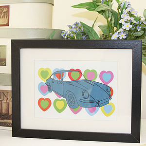 Porsche With Hearts Print - posters & prints