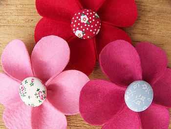 flower and button brooches