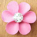 pink flower button brooch