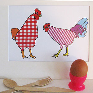 Gingham Chicken And Cockerel Print