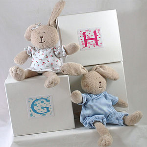 Personalised Bunny In A Box Baby Gift - woodland trend