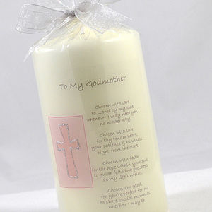 Personalised Godparent Gift Candle With Verse - tableware