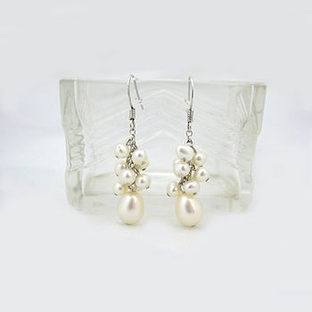 White pearl cluster earrings
