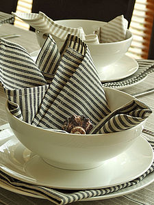 Linen Tablecloth Napkins Natural Striped