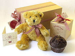 Teddy & Muffin Gift Boxed - cakes