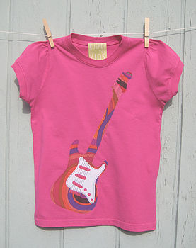 Girls Hot Pink guitar T