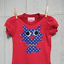 girls kitten red T