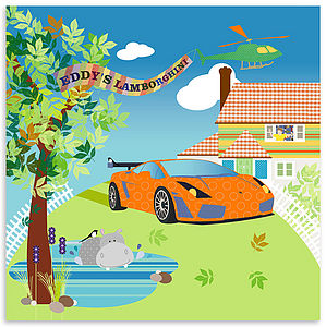 Bespoke Canvas - Edward's lamborghini - gifts for children