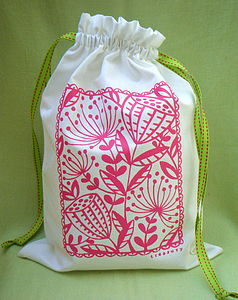 Hand Printed Drawstring Bag
