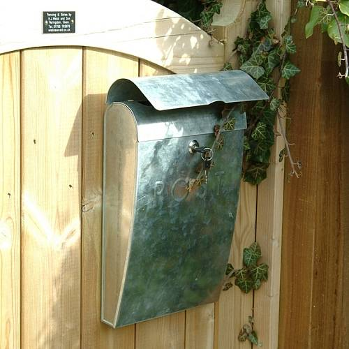 galvanised embossed post box by garden trading. Black Bedroom Furniture Sets. Home Design Ideas
