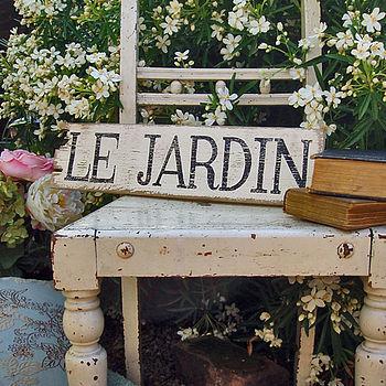 LE JARDIN handmade sign
