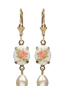 Pink Antique Rose Earrings