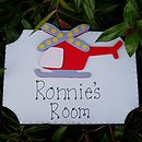 Boys Personalised Helicopter Door Plaque
