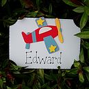Boys Personalised Aeroplane Door Plaque