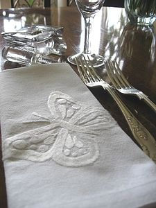 Hand Embroidered Butterfly Napkins - table linen