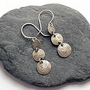 Disc Trio Silver Earrings